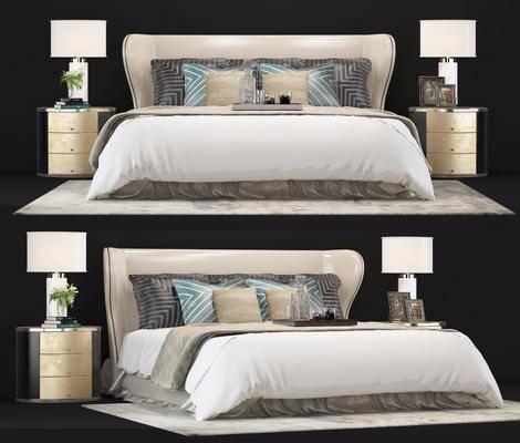 双人床, 后现代双人床, 床具, 床头柜