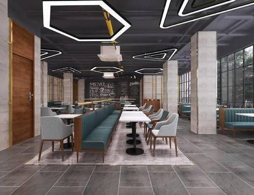 餐厅, 现代餐厅, 餐桌椅, 椅子, 工业风吊灯, 工业风餐厅