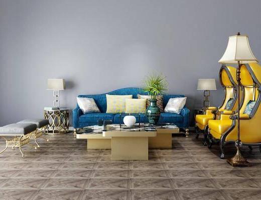 茶几组合, 沙发组合, 单椅, 落地灯