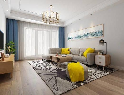 现代, 客厅, 多人沙发, 沙发凳, 边柜, 台灯, 吊灯, 电视柜, 茶几, 地毯