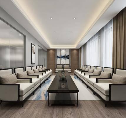 接待室, 单人沙发, 茶桌, 装饰画, 挂画, 新中式