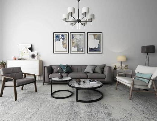 现代, 布艺沙发, 茶几, 灯具, 装饰画