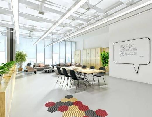 办公室, 办公桌, 办公椅, 摆件, 储物柜, 多人沙发, 布艺沙发, 茶几, 墙饰, 现代简约