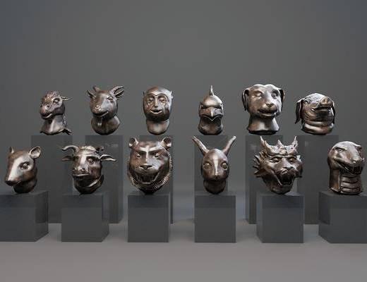 雕塑雕刻, 生肖像, 十二生肖兽首, 现代
