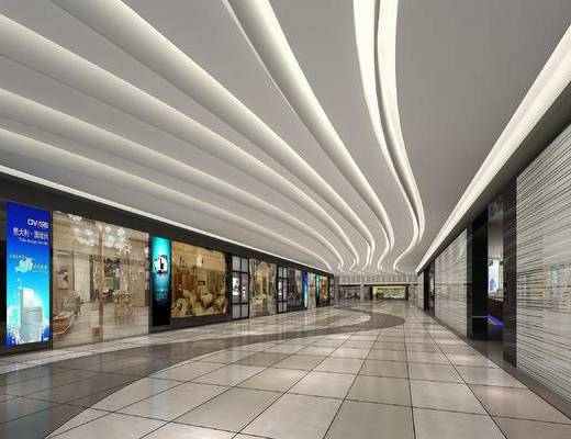 现代商城, 购物中心, 工装, 店铺, 电梯