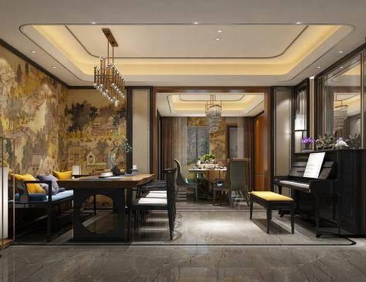 后现代, 餐厅, 餐桌椅, 吊灯, 钢琴, 椅子, 桌子, 落地灯
