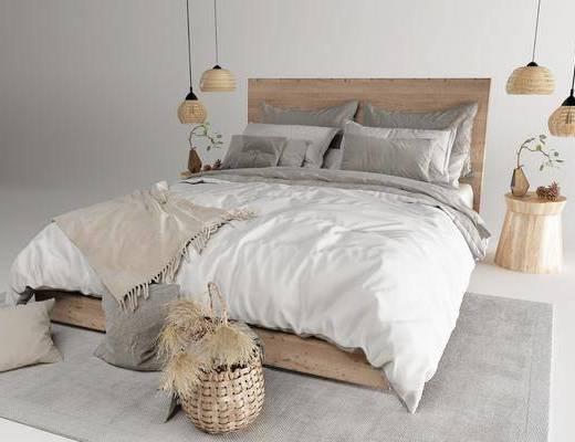 双人床, 床具组合, 吊灯, 摆件组合