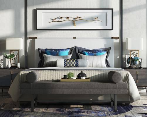 床, 床头组合, 新中式, 床具, 床头柜, 床尾凳, 台灯, 陈设品, 摆件