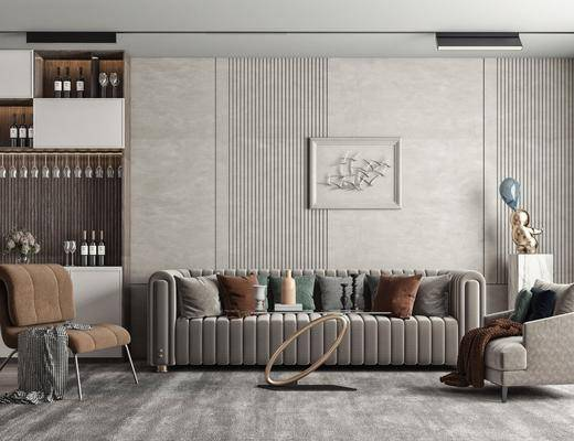 多人沙发, 墙饰, 酒柜, 休闲椅, 雕塑