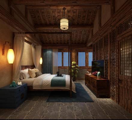 客房, 卧室, 东南亚, 电视柜, 床头柜, 吊灯