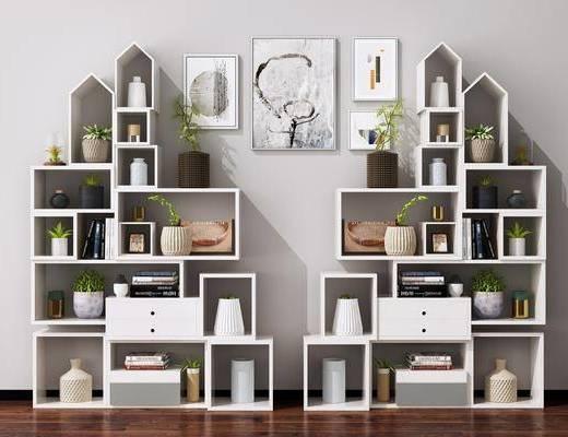 现代, 书柜, 装饰柜, 摆件