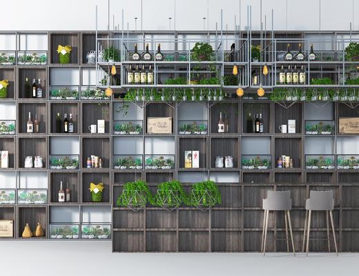 八天, 酒柜, 装饰柜, 酒水, 绿植, 盆栽, 吊灯, 植物, 装饰品, 摆件