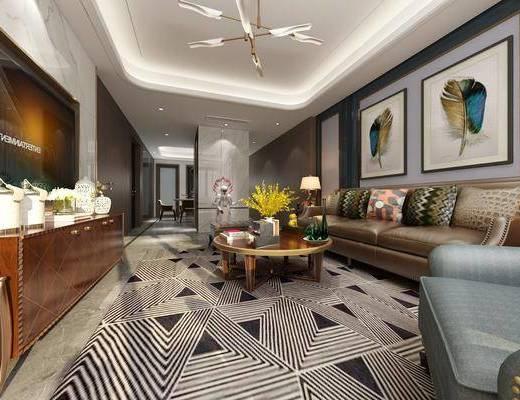 美式客廳, 客廳, 餐廳, 餐桌椅, 沙發組合