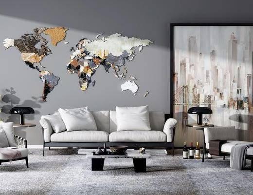 沙发组合, 双人沙发, 茶几, 单人椅, 边几, 台灯, 单人沙发, 墙饰, 装饰画, 挂画, 现代
