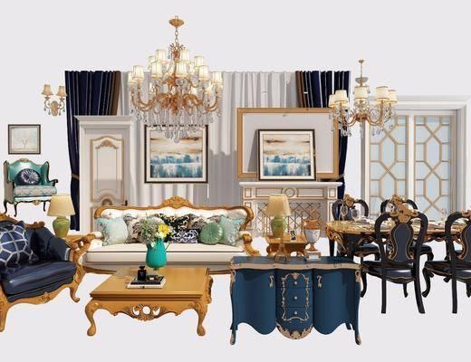 多人沙发, 茶几, 单人沙发, 双人沙发, 餐桌, 餐椅, 单人椅, 吊灯, 装饰画, 挂画, 边柜, 装饰柜, 边几, 台灯, 摆件, 装饰品, 陈设品, 欧式