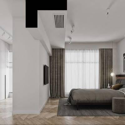 现代, 北欧, 卧室, 床, 床头柜, 射灯, 吊灯