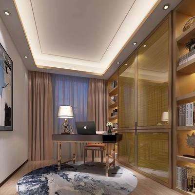 书房, 摆件, 书桌, 装饰柜, 书柜, 台灯, 装饰画, 挂画, 后现代
