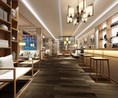 茶室, 流水石, 迎客松, 休闲桌椅组合, 屏风壁灯, 新中式