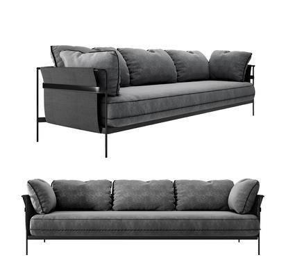 现代, 北欧, 布艺沙发, 多人沙发, 沙发