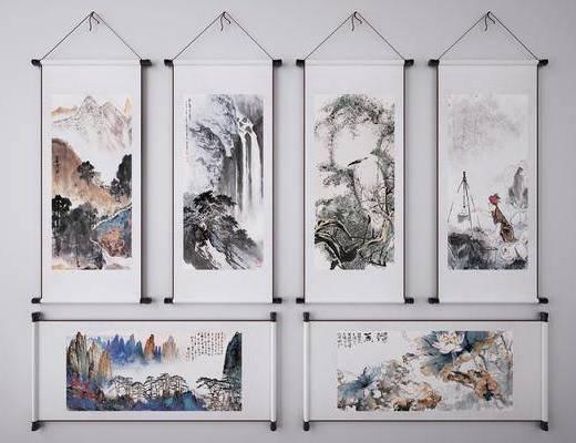 水墨畫, 抽象掛畫, 山水畫