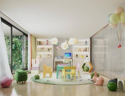 桌椅组合, 玩具, 置物柜, 绿植墙
