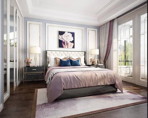 床头柜, 床尾凳, 双人床, 单人床, 吊灯, 挂画, 壁灯
