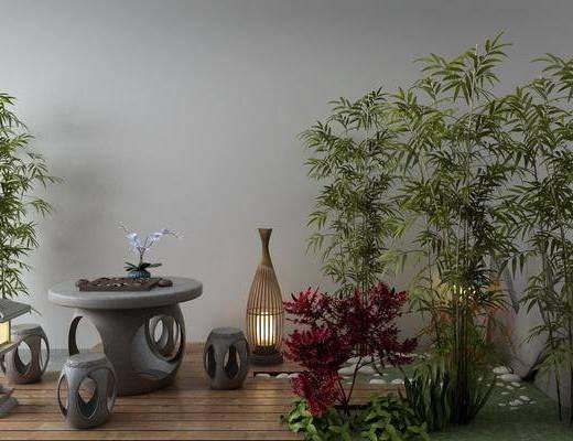 石头, 竹子, 石灯, 景观小品