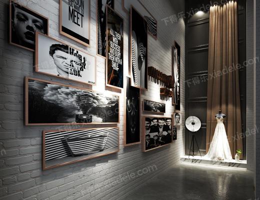 现代, 摄影馆, 影楼, 艺术, 概念, 文化墙