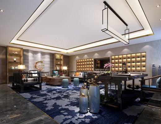 桌椅组合, 吊灯, 沙发组合, 墙饰, 茶几, 装饰柜