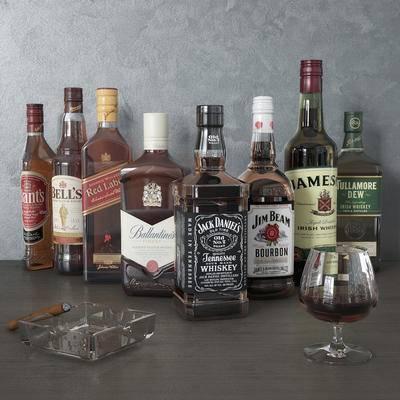 酒瓶, 酒杯, 烟灰缸, 现代