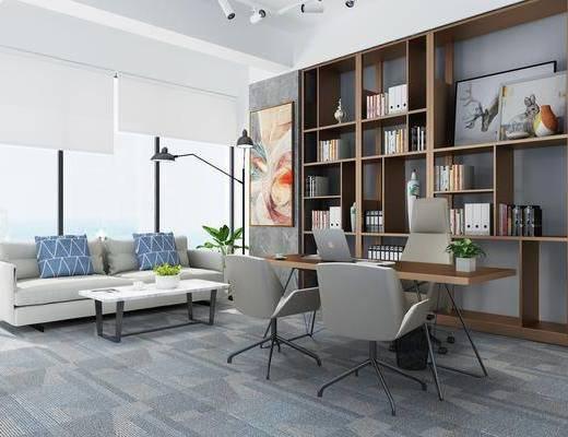 办公室, 书桌, 单人椅, 多人沙发, 茶几, 装饰柜, 书籍, 装饰画, 挂画, 摆件, 装饰品, 陈设品, 落地灯, 现代