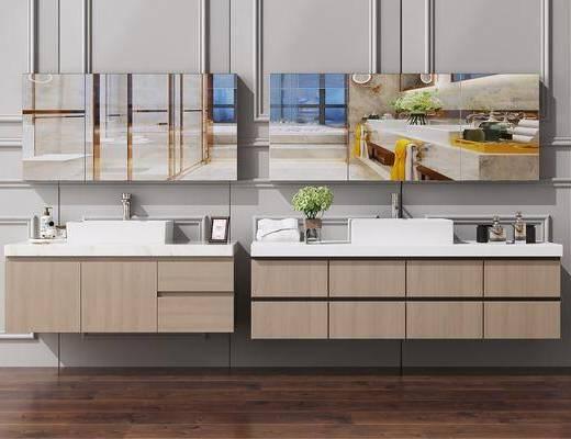 卫浴柜, 洗手台, 面盆, 新中式