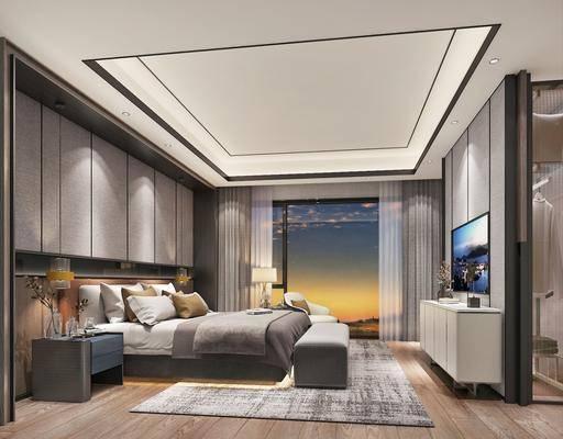 卧室, 双人床, 床具组合, 电视柜