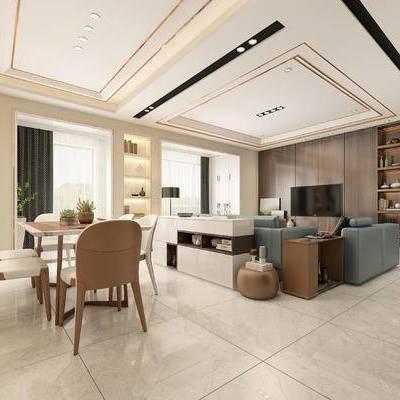 客厅, 现代客厅, 沙发组合, 餐桌椅, 桌椅组合, 现代简约