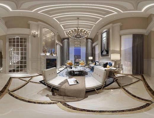 客厅, 简欧, 欧式, 沙发, 沙发组合, 餐厅, 吊灯, 茶几, 壁炉