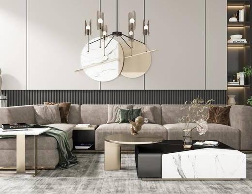 玻璃吊灯, 装饰摆件, 吊灯, 墙饰, 茶几, 单椅