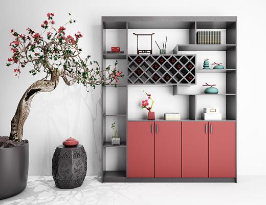 中式酒柜, 酒柜, 凳子, 盆栽, 置物柜, 装饰柜