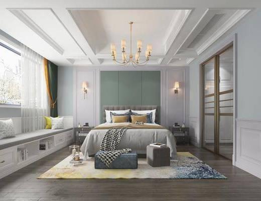 卧室, 简欧卧室, 床具组合, 吊灯, 壁灯, 抱枕, 床头柜, 简欧