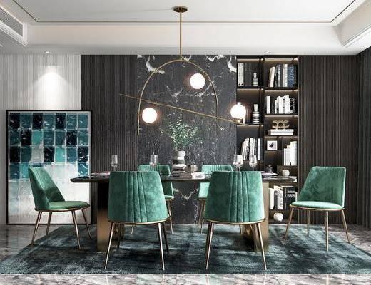 餐桌, 餐椅, 书柜, 吊灯, 挂画, 饰品