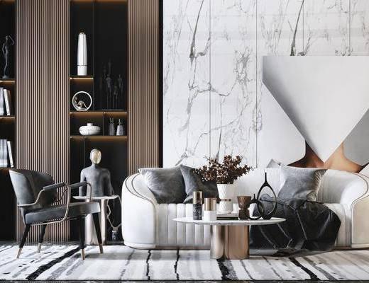 沙发组合, 抱枕, 茶几, 摆件组合, 单椅