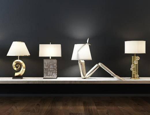 台灯, 灯具, 摆件组合