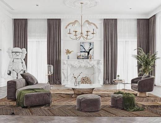 沙发组合, 茶几, 壁炉, 吊灯, 单椅