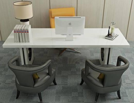 桌椅组合, 书桌, 单人椅, 台灯, 书籍, 现代