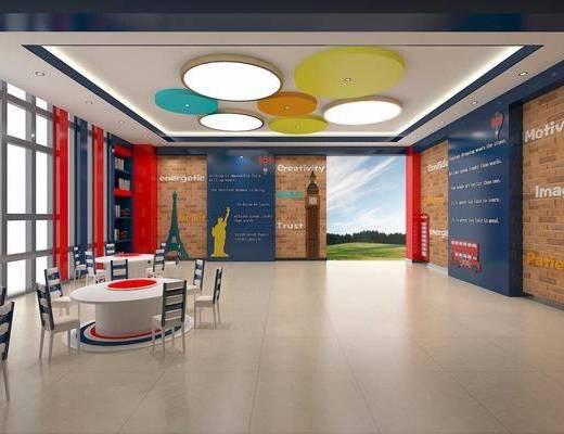 现代, 课室, 桌子, 椅子, 吸顶灯