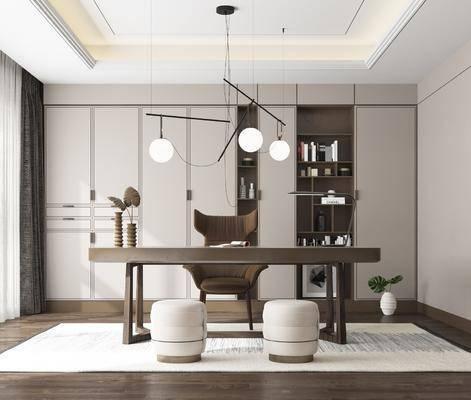 书房, 书桌, 单人椅, 凳子, 书柜, 书籍, 吊灯, 摆件, 装饰品, 陈设品, 新中式