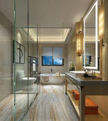 现代, 卫生间, 淋浴间, 浴室柜, 马桶, 卫浴用品