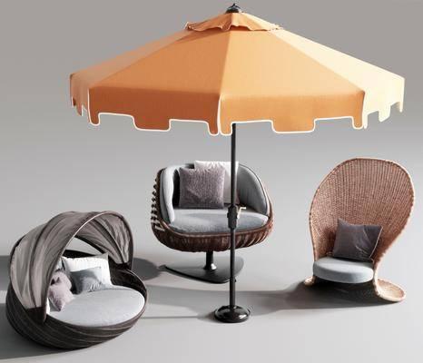 户外休闲椅, 遮阳伞组合, 休闲椅组合, 现代