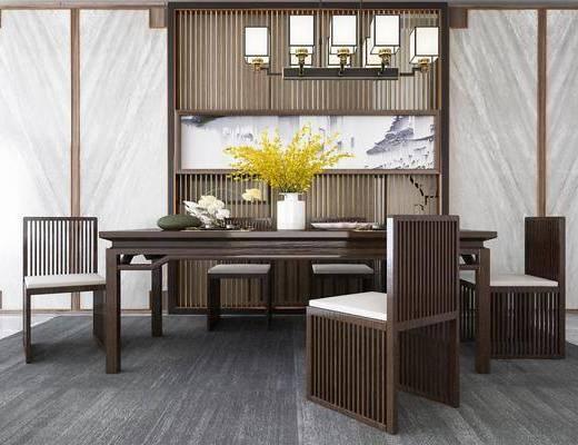 餐桌椅組合, 餐具組合, 擺件組合, 吊燈, 新中式