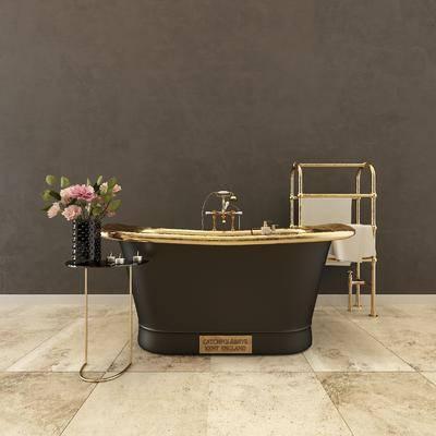 毛巾架, 浴缸, 花瓶, 后现代, 现代, 卫浴