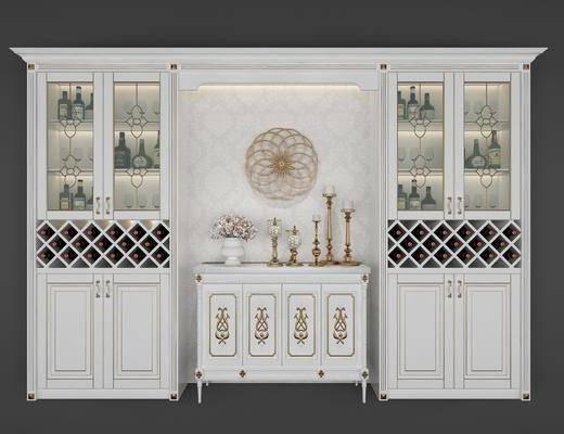 实木酒柜, 酒瓶, 花瓶花卉, 墙饰, 摆件, 装饰品, 简欧